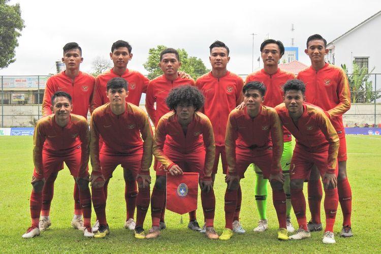 Skuad Timnas Indonesia U-18 saat melawan Filipina pada laga perdana Piala AFF U-18.