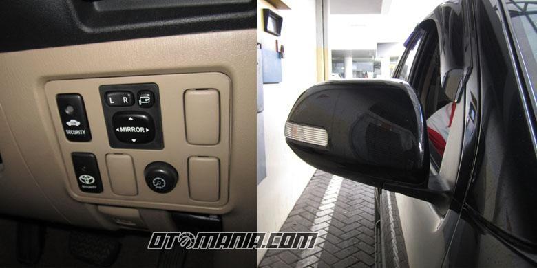 Kaca spion bisa diatur dari dalam mobil.