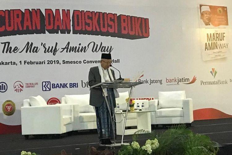 Calon wakil presiden nomor urut 01, Maruf Amin, saat peluncuran buku berjudul The New Indonesia Economics Perspective: The Maruf Amin Way, di Gedung Smesco, Jakarta, Jumat (1/2/2019).