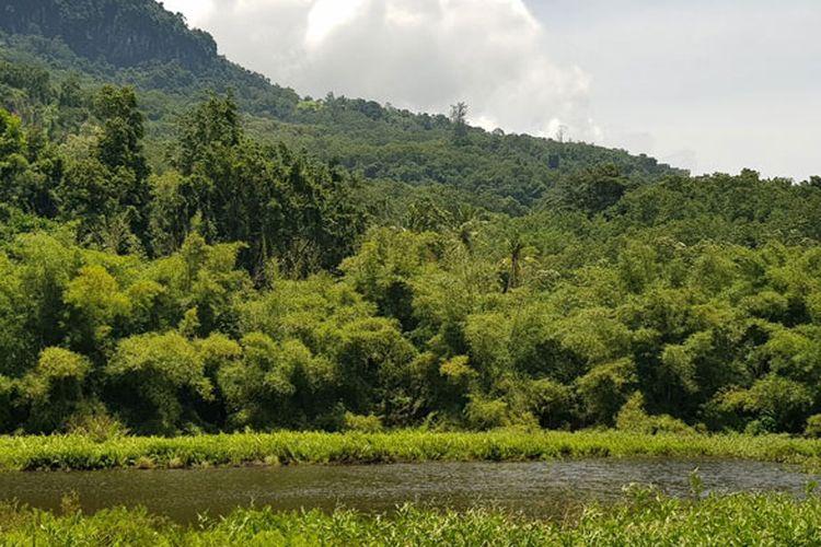 Danau Koliheret yang berada di Desa Watudiran, Kecamatan Waigete, Kabupaten Sikka, Flores, Nusa Tenggara Timur (NTT), Minggu (21/4/2019).
