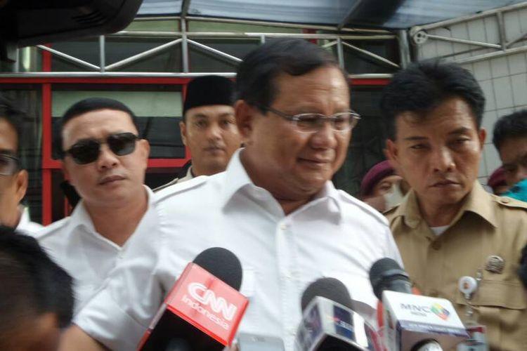Ketua Umum DPP Partai Gerindra Prabowo Subianto di Kantor DPP Partai Gerindra, Ragunan, Jakarta Selatan, Rabu (19/4/2017).