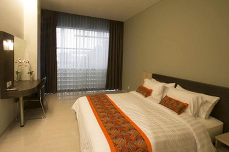 Kamar dengan tipe duluxe di Hotel Moscato Hotel and Cafe, Lembang, Bandung