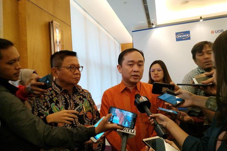 Director of Enterprise Payment OVO Haryanto Gunawan memberikan keterangan terkait kerja sama dengan PT Rintis Sejahtera sebagai pengelola Jaringan PRIMA di The Westin Hotel, Jakarta, Senin, (1/7/2019).