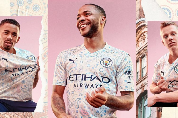 Jersey ketiga Manchester City untuk musim 2020/2021.