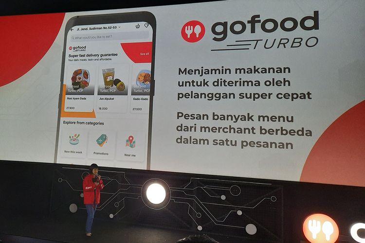 Chief Food Officer Gojek Group, Catherine Hindra Sutjahyo saat menjelaskan empat fitur baru GoFood di CGV Pacific Place, Jakarta Selatan.