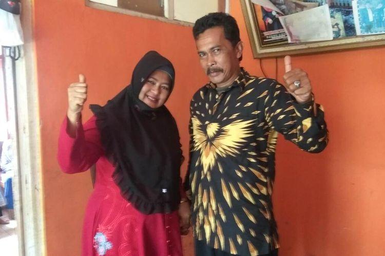 Pasangan suami istri menjadi lawan di Pilkades Padamulya, Kecamatan Cihaurbeuti, Kabupaten Ciamis, Sabtu (19/12/2020).