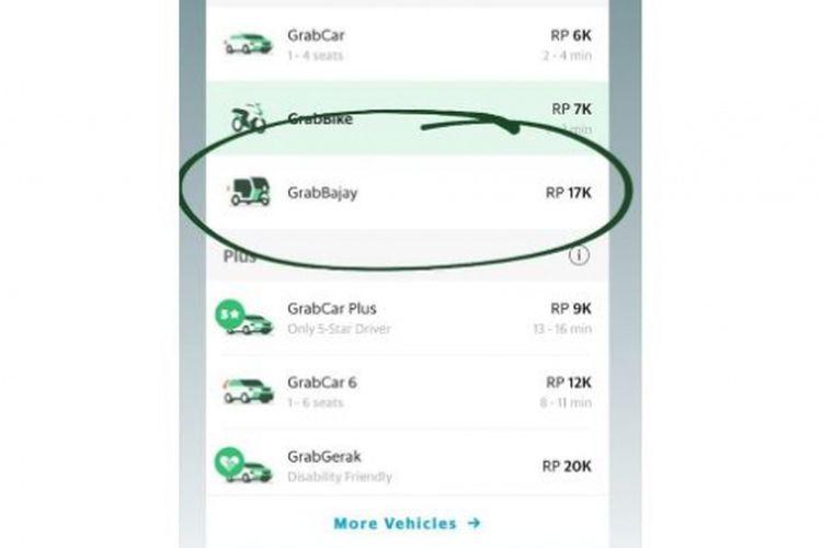 Seorang netizen membagikan tangkapan layar perbandingan tarif layanan GrabBajay di media sosial.
