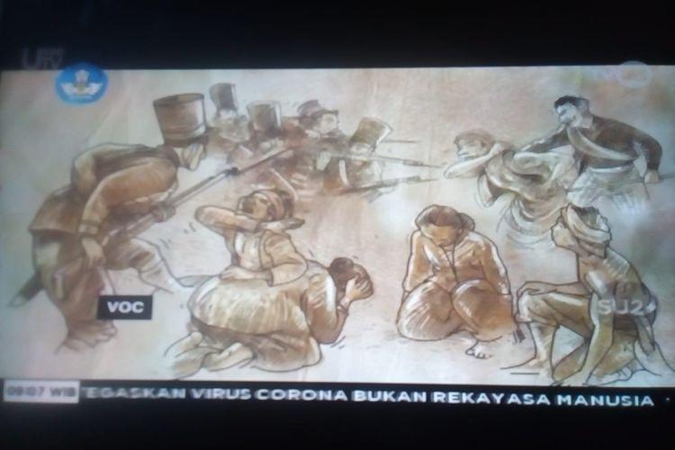Tangkapan layar materi Program Belajar dari Rumah TVRI 22 April 2020 kelas 4-6 SD, pala rempah dari Banda Neira, Maluku.