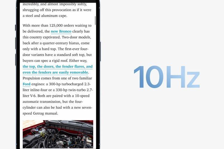 Ketika membaca, refresh rate iPhone 13 Pro akan diturunkan ke 10 Hz.