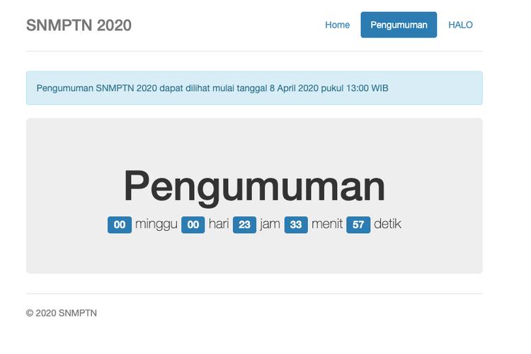 Tangkapan layar laman LTMPT pengumuman SNMPTN 2020
