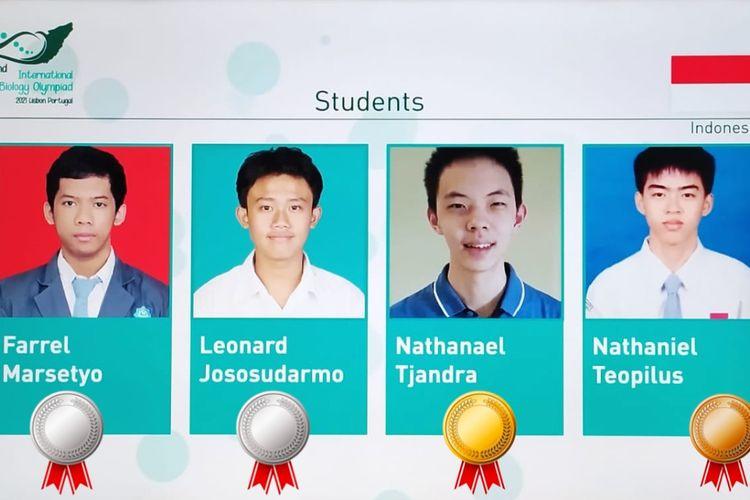 Empat siswa Indonesia yang tergabung dalam Tim Olimpiade Biologi Indonesia kembali menorehkan prestasi terbaik di International Biology Olympiad (IBO) Challenge II, 18?23 Juli 2021 yang diselenggarakan oleh tuan rumah Portugal.