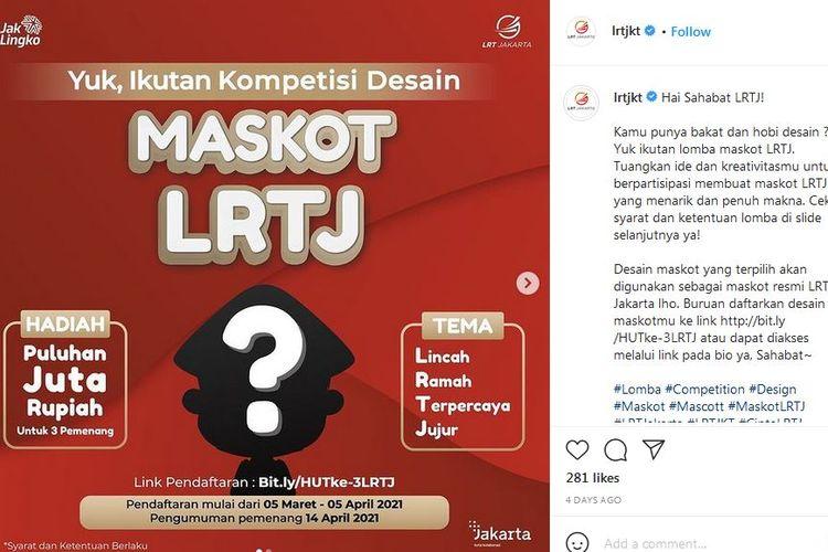 PT LRT Jakarta umumkan kompetisi desain maskot LRTJ