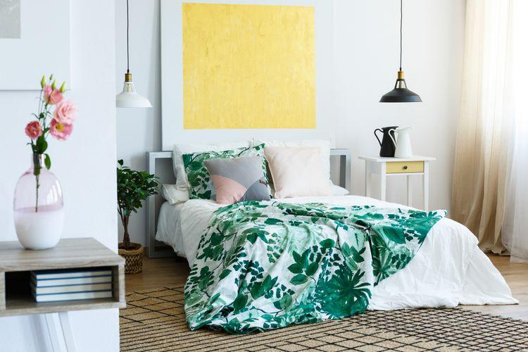 Ilustrasi seprai tempat tidur.