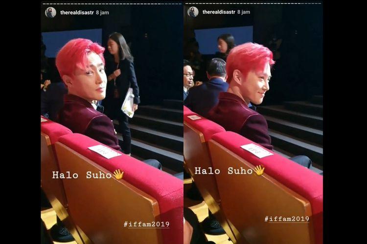 Suho EXO terekam dalam video Instagram Story Dian Sastro saat sama-saa menghadiri Festival Film Macau.
