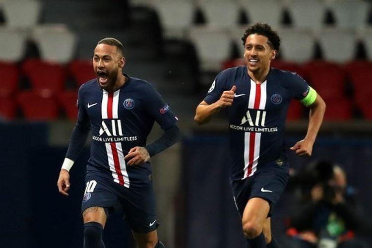 Neymar saat merayakan gol pertama dalam laga PSG vs Dortmund, Kamis (12/3/2020) dini hari WIB.