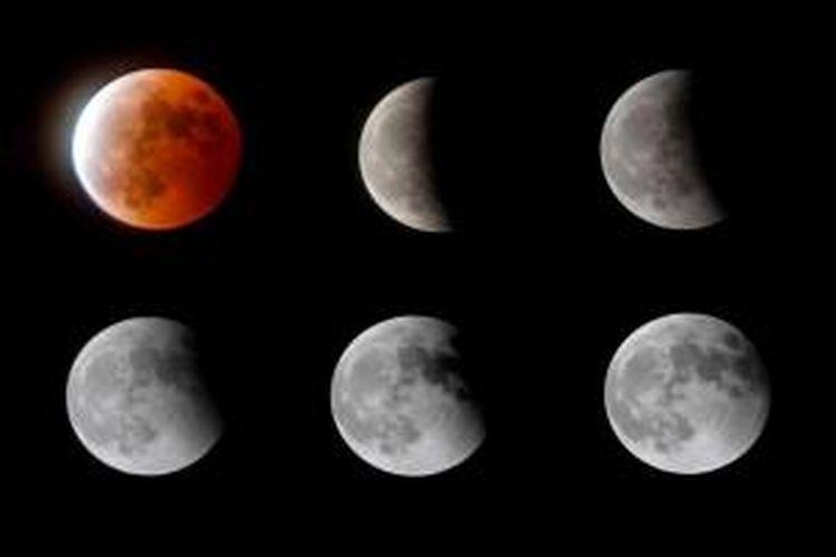 Perpaduan foto proses terjadinya gerhana bulan di Lianyungang, Jiangsu, China, 8 Oktober 2014. Warna merah pada gerhana bulan dipengaruhi oleh pembiasan atmosfer Bumi, disebut dengan 'bulan merah darah'.