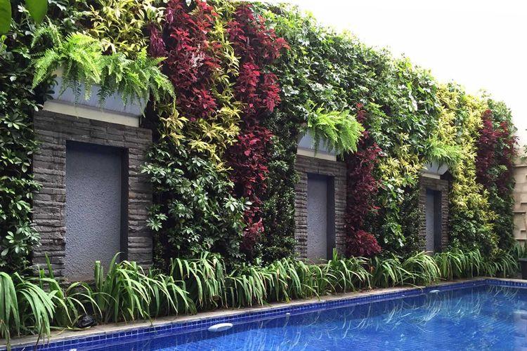 Vertical garden di sekitar kolam renang, karya Aditya Wijaya