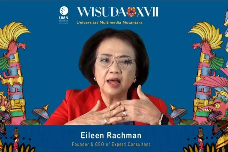 Eileen Rachman saat menjadi pembicara kunci pada Wisuda XVII UMN secara daring, Sabtu (31/10/2020).