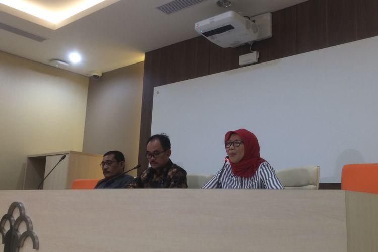 Direktur Jenderal Pemasyarakatan Kemenkumham, Sri Puguh Budi Utami, saat konferensi pers di di Kantor Kementerian Hukum dan HAM, Jakarta, Sabtu (21/7/2018) malam.