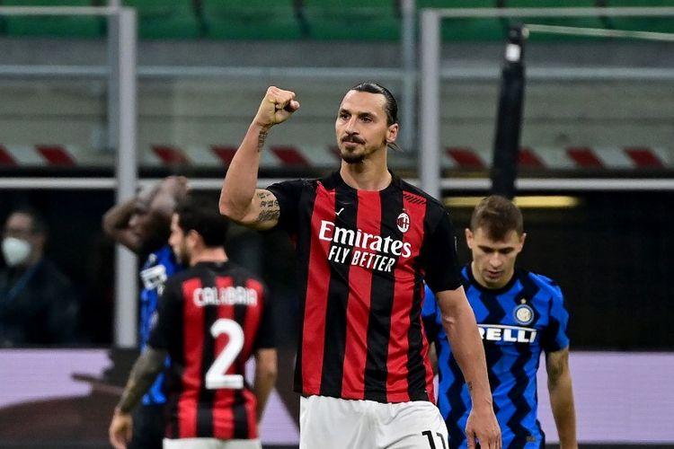 Ekspresi striker AC Milan Zlatan Ibrahimovic usai memenangi laga Derby della Mdonnina kontra Inter Milan di Stadion Giuseppe Meazza, Sabtu (17/10/2020) malam WIB.