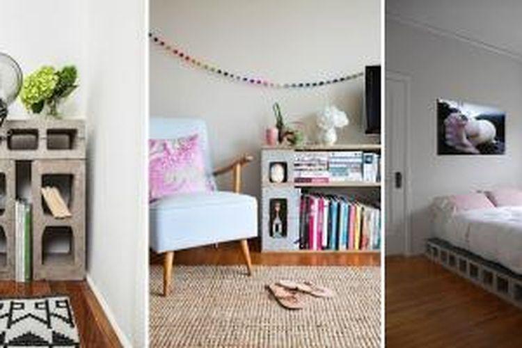 Batako bisa diolah menjadi furnitur menarik yang hemat biaya. Meski hemat, interior rumah pun tetap tampak istimewa.