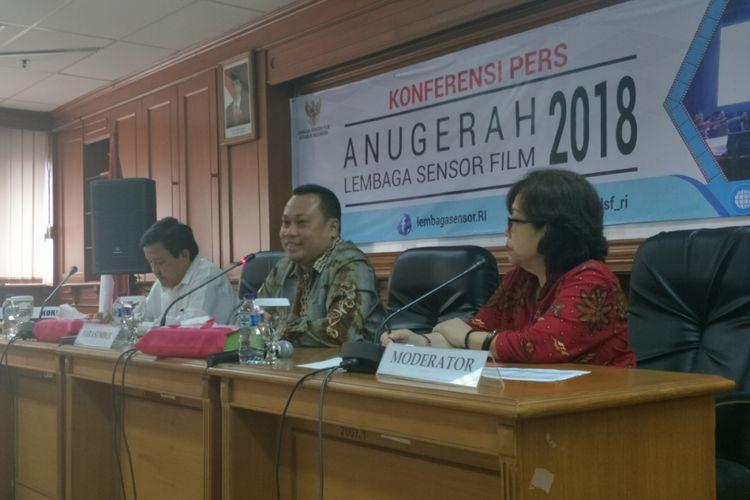 Konferensi pers Anugerah LSF 2018 di Gedung Lembaga Sensor Film, Jakarta Selatan, Senin (2/7/2018).