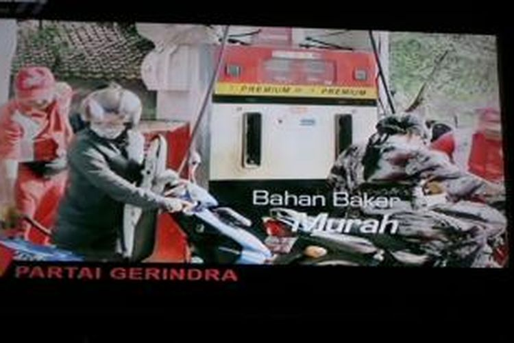 Salah satu iklan Partai Gerindra yang menyoroti harga BBM