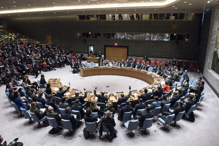 Pemungutan suara di Dewan Keamanan PBB, Senin (18/12/2017), untuk resolusi yang menentang langkah Amerika Serikat mengakui Yerusalem sebagai ibu kota Israel. Meski didukung 14 dari 15 negara anggota Dewan Keamanan PBB, resolusi itu gagal terbit karena Amerika menggunakan hak vetonya.