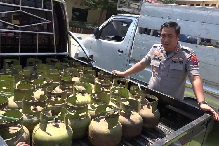 Sebanyak 507 buah tabung gas  Elpiji 3 Kilogram berhasil disita Polres Luwu Timur, Sulawesi Selatan di beberapa titik di daerah perbatasan antara Sulawesi Selatan dan Sulawesi Tengah, Jumat (25/10/2019)