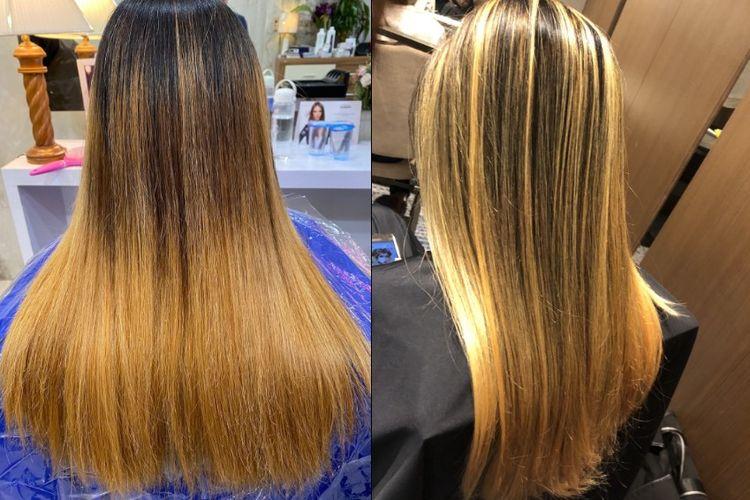 Contoh rambut hasil Balayage yang sudah brassy (pudar).