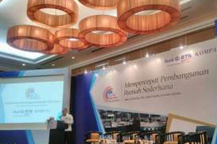 Direktur Utama PT BTN (Persero) Tbk, Maryono, dalam Forum Ekonomi Nusantara, kerja sama Harian Kompas dan BTN, Jakarta, Rabu (26/10/2016).