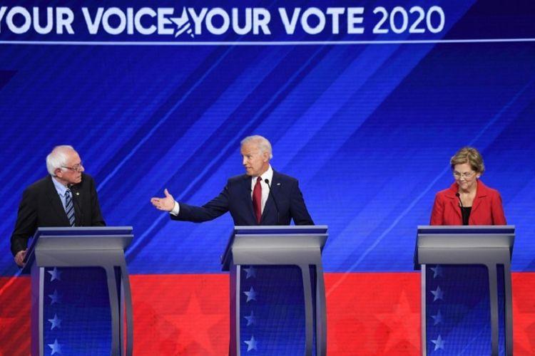 Capres Partai Demokrat berdebat di debat ketiga Capres Demokrat yang digelar di Health and Physical Education Arena,  Texas Southern University di Houston, Texas, Kamis malam (12/9/2019)