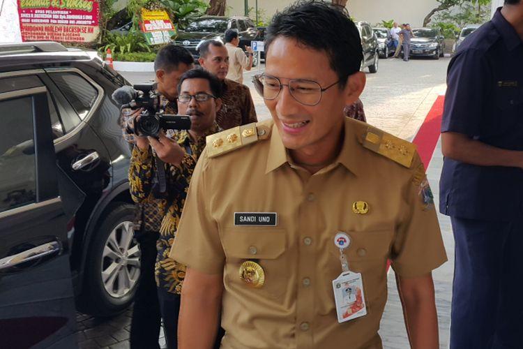 Wakil Gubernur DKI Jakarta Sandiaga Uno di Balai Kota DKI Jakarta, Jalan Medan Merdeka Selatan, Senin (23/10/2017).