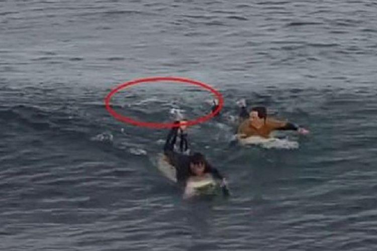 Tangkapan layar dari video yang diunggah oleh warga lokal di Australia bernama Graham Blade memperlihatkan, seorang peselancar Dylan Nacass dan warga yang menolongnya, Matthew Sedunary, bergegas menyelamatkan diri dari serangan hiu pada Jumat siang waktu setempat (8/5/2020).
