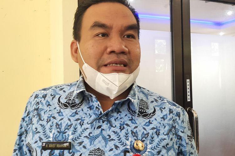 Bupati Blora, Arief Rohman usai rapat dengan Bulog, di Kantor Bupati Blora, Rabu (17/3/2021)