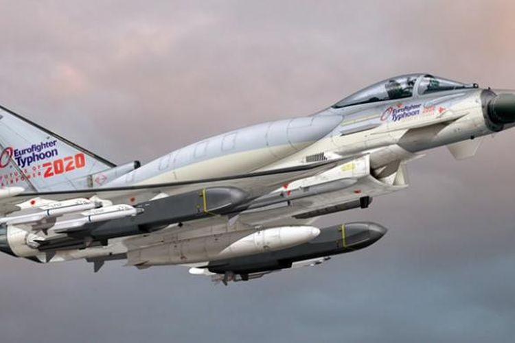 Gambar konsep pengembangan Eurofighter Typhoon yang mengintegrasikan Comformal Fuel Tank (CFT) di punggungnya.
