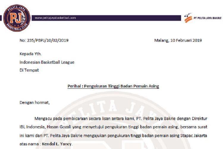 Surat permintaan Pelita Jaya Basketball kepada IBL untuk pengukuran tinggi badan pemain asing Stapac Jakarta, Kendal L Yancy.