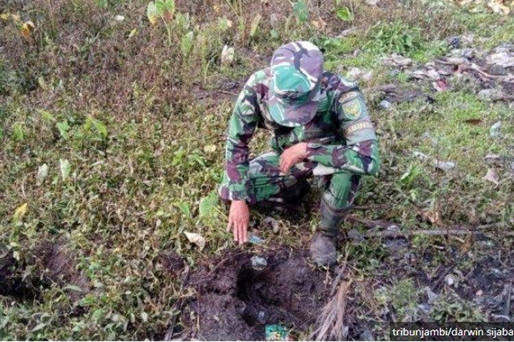 Seekor gajah berusia 12 tahun terpisah dari rombongannya sudah sepekan masuk ke perkebunan sejumlah desa di Kecamatan Tungkal Ulu, Kabupaten Tanjung Jabung Barat. Terlihat jejak kakinya. (Februari 2020).