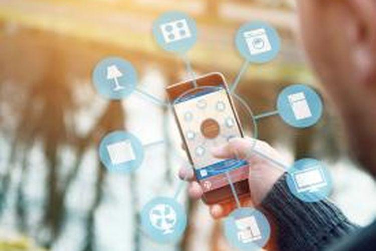 Ilustrasi penggunaan telepon genggam untuk aktivitas sehari-hari