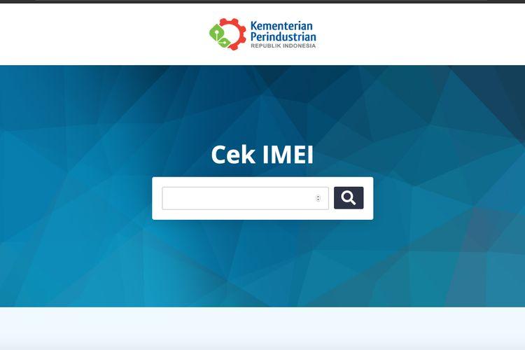 Halaman cek IMEI di situs Kemenperin.