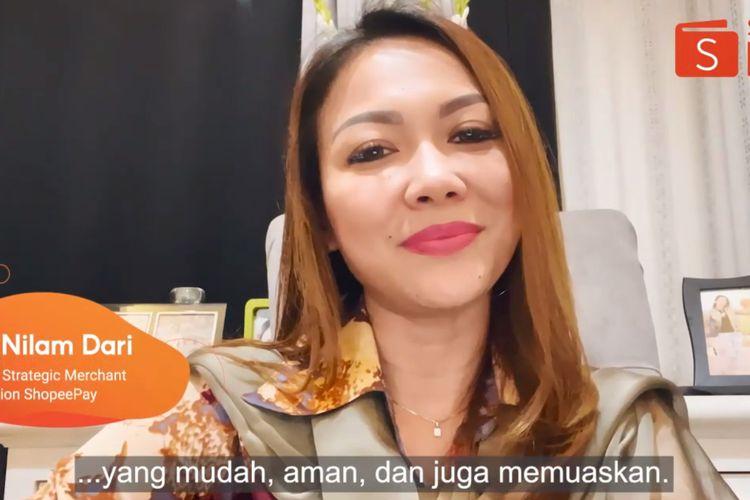 Tangkapan layar Head of Strategic Merchant Acquisition ShopeePay Eka Nilam Dari saat membuka ShopeePay Talk Episode 7.