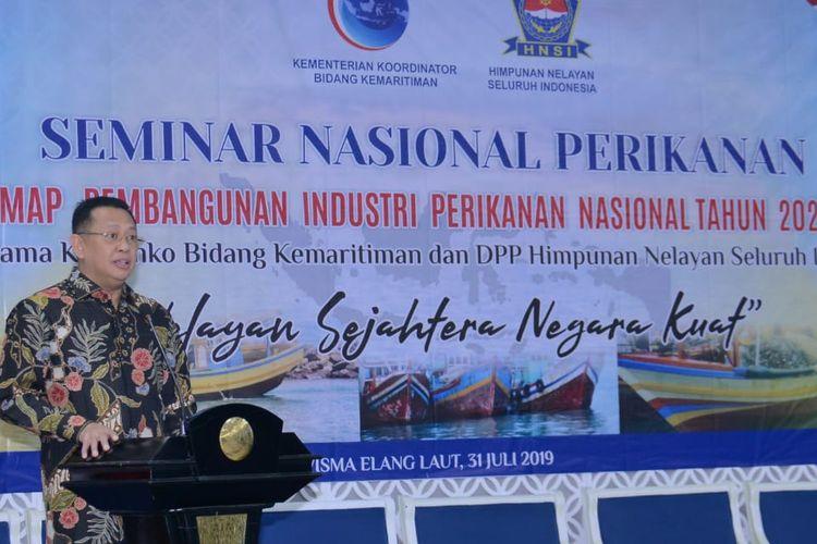 Ketua DPR RI Bambang Soesatyo saat menjadi keynote speaker Seminar Nasional Road Map Pembangunan Perikanan Nasional 2020-2024, di Jakarta, Rabu (31/07/19).