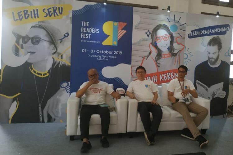 Gramedia.com menggelar acara festival buku terbesar di Indonesia bertajuk The Readers Fest 2018 Festival ini berlangsung 1 - 7 Oktober 2018 mengangkat tema ?Selebrasi Literasi dan Musik dalam Festival?.