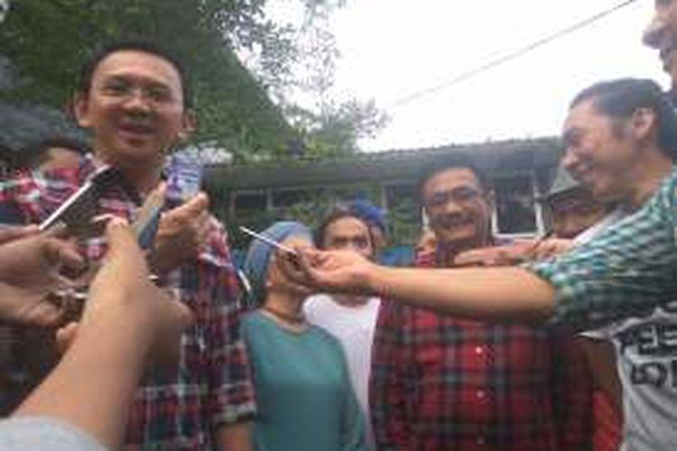 Ahok dan Djarot silaturahmi ke markas Slank di Gang Potlot, Jakarta Selatan, Kamis (22/12/2016).