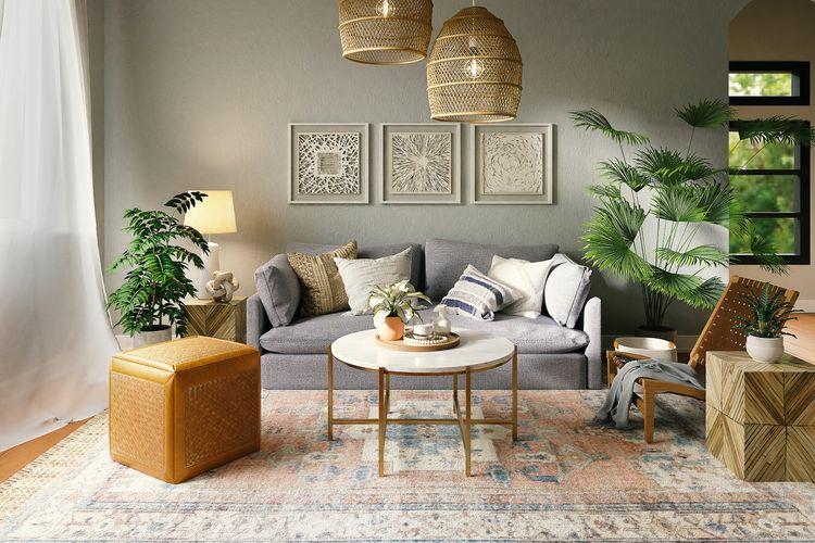 Ilustrasi ruang keluarga, karpet di ruang keluarga.