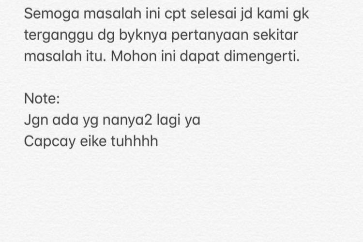 Tangkapan Layar dari Instagram Story, Iis Dahlia, Senin (9/12/2019).