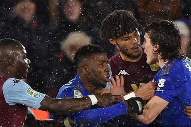 Laga Leicester City vs Atson Villa pada leg pertama Piala Liga Inggris di Stadion King Power, Rabu (8/1/2019), berakhir dengan skor 1-1.