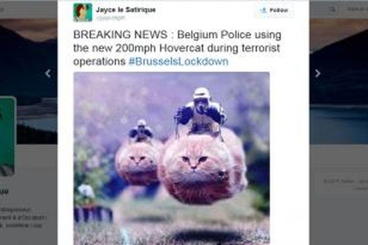 Salah satu meme yang mengejek pelaku penyerangan Paris di akun Twitter warga Belgia.