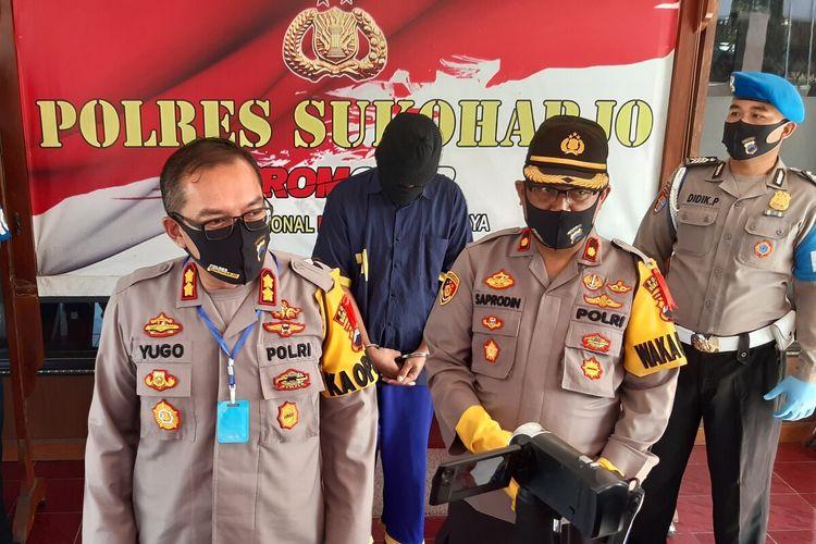 Kapolres Sukoharjo AKBP Bambang Yugo Pamungkas dalam pers rilis kasus laporan palsu di Mapolres Sukoharjo, Jawa Tengah, Rabu (10/6/2020).