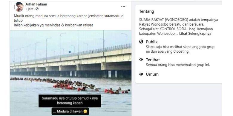 Tangkapan layar unggahan pemudik berenang di selat Madura karena Jembatan Suramadu ditutup